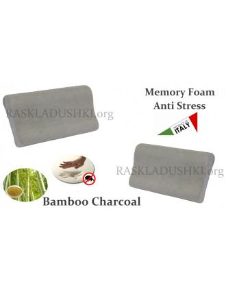 Ортопедическая подушка MEMORY FOAM Anti Stress бамбуковый уголь для раскладушек LUXOR Италия